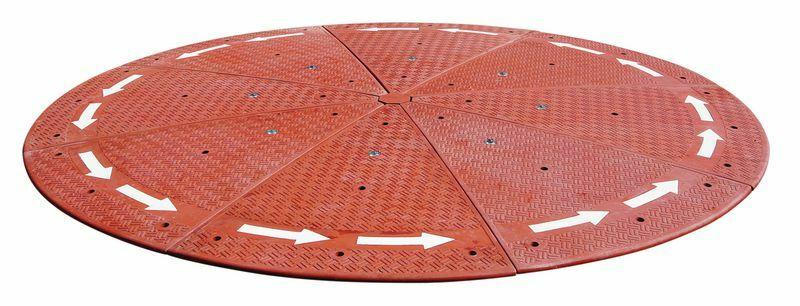 Rondpunt in gevulkaniseerd rubber - rood - diam. 3000 mm