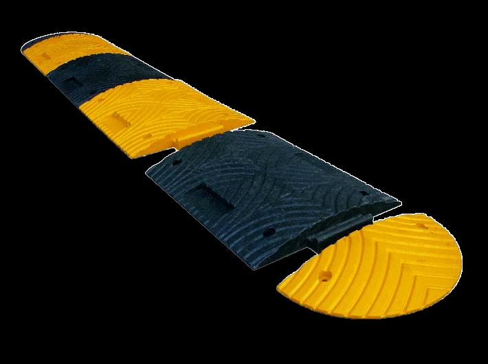 Verkeersdrempel eindstuk geel 70mm - 500 x 250 x 70mm
