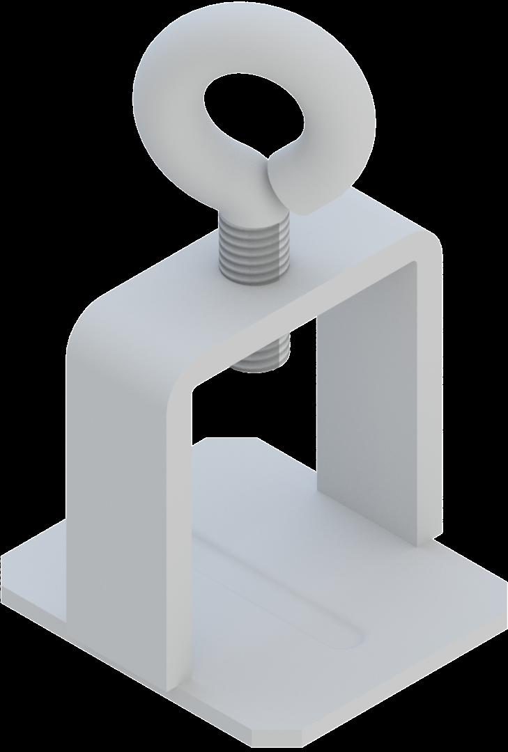 Beugel voor vlakke borden 40 x 40 mm, staal met oogvijs -