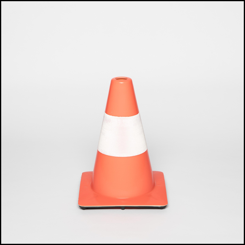 Verkeerskegel soepele PVC oranje met witte banden, H 30 cm